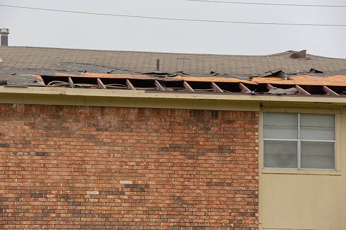 severe weather damaged roof
